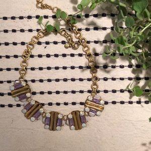 LOFT gold necklace is subtle pink/purple stones